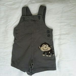 Army green baby boy overalls